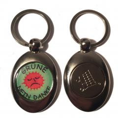 Grüne - Nein Danke (Key ring with trolley coin in silver)