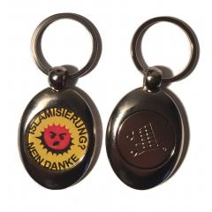 Islamisierung - Nein Danke (Key ring with trolley coin in silver)