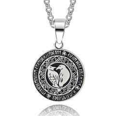 Hugin and Munin in the Rune Circle (Pendant + Chain in Silver)